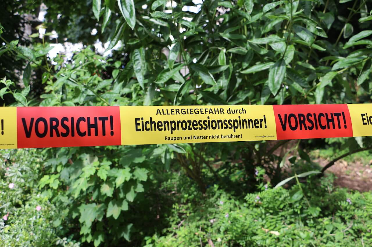 Absperrband Eichenprozessionsspinner Langenfeld Betriebshof