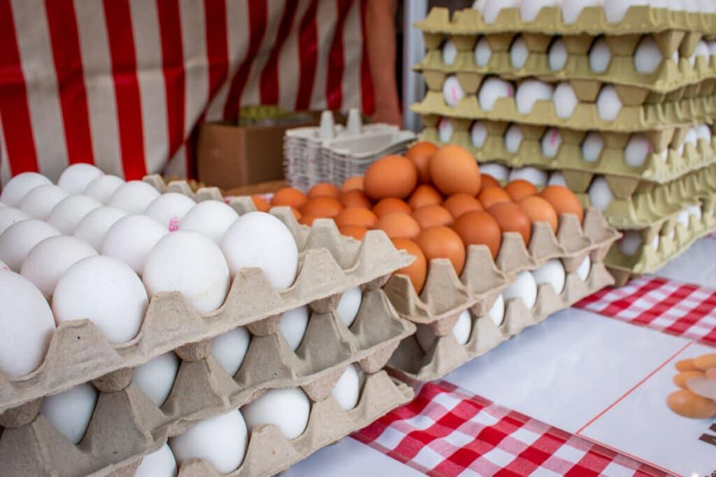 Marktstand Eier Geier Langenfelder Wochenmarkt Bild 11