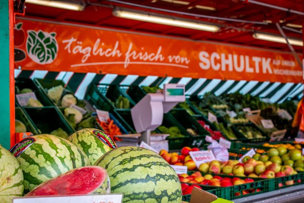 Marktstand Früchte Schultk Langenfelder Wochenmarkt Bild 8