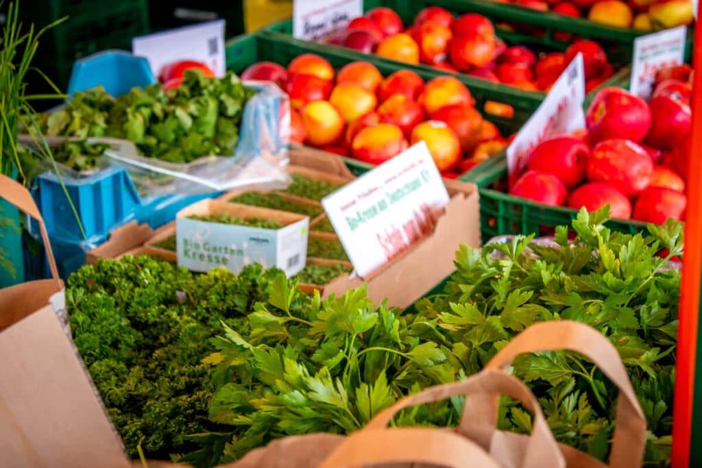 Marktstand Früchte Schultk Langenfelder Wochenmarkt Bild 5