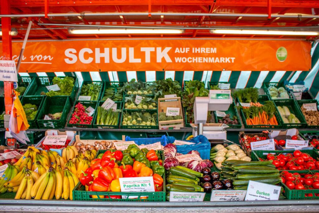 Marktstand Früchte Schultk Langenfelder Wochenmarkt Bild 2