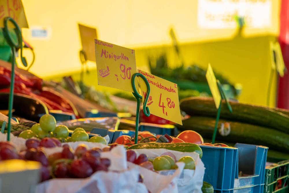 Marktstand Obst Gemüse Becker Langenfelder Wochenmarkt Bild 6