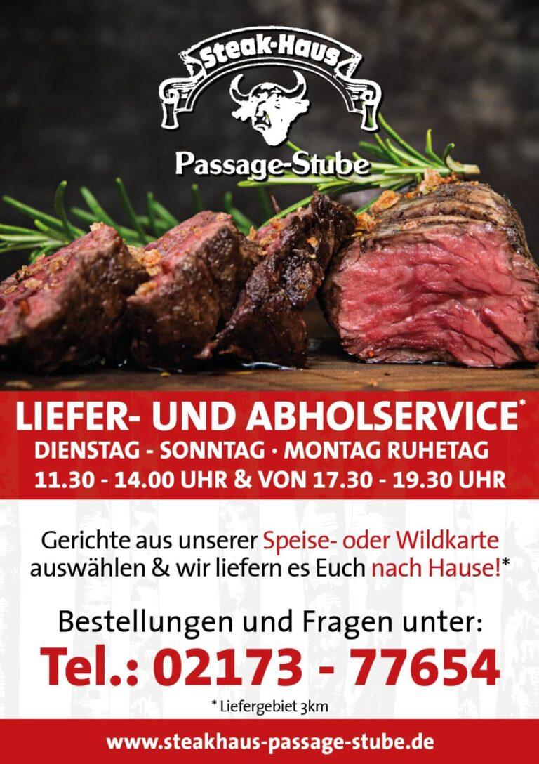 Steakhaus Passage Stube Langenfeld Corona Update Lieferservice