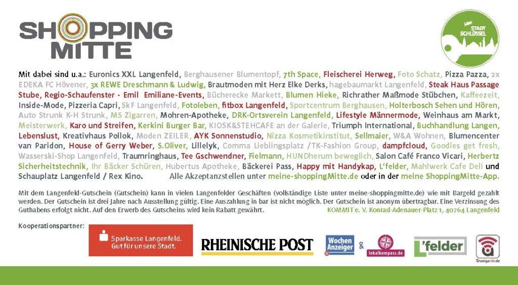 Gutschein Shoppingmitte Langenfeld Teilnehmer