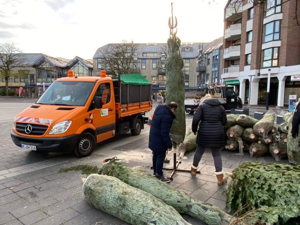 Langenfeld leuchtet - Weihnachtsbüme werden geliefert
